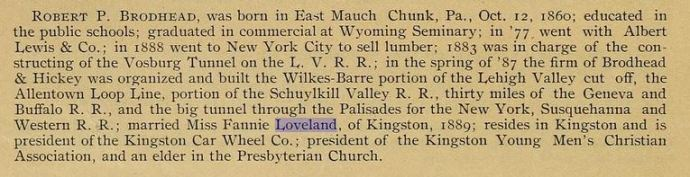 Bio from The Wyoming Valley in the 19th Century. Art Edition, by S. R. Smith, published in 1894.