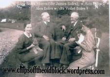 Lucy Boles, Ben Boles, Alex Boles, and Violet Boles enjoying some puppies, 1943