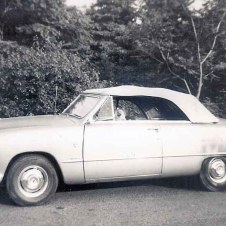"Jean Boles' new Ford convertible with Pomeranian ""Tara"" at the wheel, early 1950s"