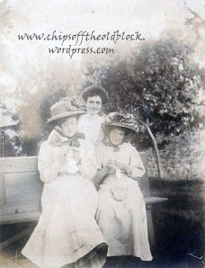 Ella Caswell (center), Sarah German Simpson Caswell's daughter; one of the two ladies seated is a sister-in-law, spouse of William Henry Caswell, Ella's brother