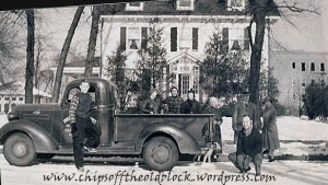 The C. Clarence Coleman family home at 17 Wilder Street, late 1930s/early 1940s (Standing, third from the left, is Jennie Woodruff Coleman; Clarence is the gentleman in the hat to her left. Their daughter is to Jennie's right. My dad, a nephew of Clarence and Jennie is standing by the door to the truck)