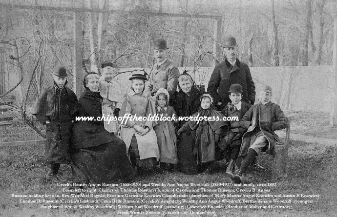 William and Wealthy Woodruff with extended family, Elizabeth, NJ, circa 1893 (Photo from my family's personal archives)