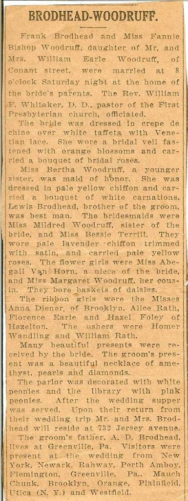 Brodhead-Woodruff Wedding Announcement (Probably clipped from the Elizabeth Daily Journal) - from our family's private archives