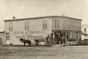 Grand Forks, ND, Store, 1880, probably visited by Matthias Woodruff during his time in the Dakota territory (Photo in public domain)