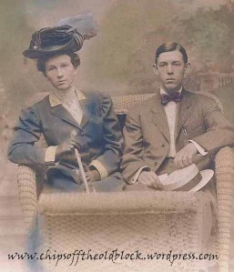 Honeymoon photo, Frank M. Brodhead and Fannie Bishop Woodruff, married June 6, 1908
