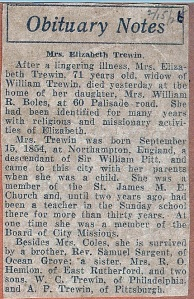 2/15/1926 Obituary for Elizabeth Sargent Trewin