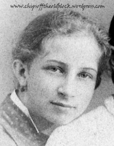Jennie Belle Woodruff, the first of six daughters (Nov. 24, 1873 - Oct. 20, 1955) - Cropped from a photo in my family's personal collection)