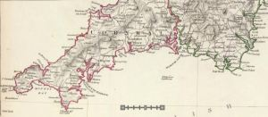 Cornwall, 1830 Map; Talland can be seen closer to the northeast corner