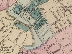Downtown Elizabeth showing location of Jaques St (lower right) and 2nd Presbyterian Church - Rumsfeld Map Collection - credit below*