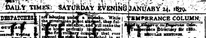 Oswego Daily Times, Saturday Evening, 24 January 1879 (Credit: www.fultonhistory.com)