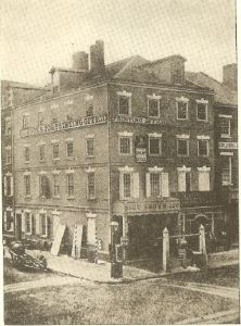 SW corner of Seventh and Market Streets in Philadelphia. General Brodhead lived nearby in 1795. Photo from 1858.