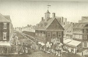 Philadelphia's Ancient Town Hall, Second and Market Streets, 1829.