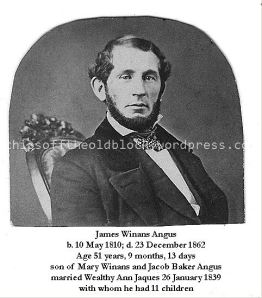 James W. Angus, older brother of Job W. Angus, father of Job W. Angus (b. 1856)