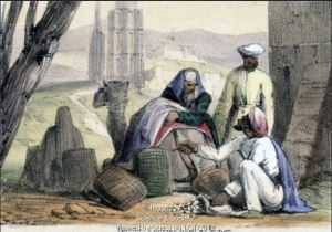 'Cowry Trading' - an 1845 print by Benjamin Waterhouse Hawkins (Wikimedia**)