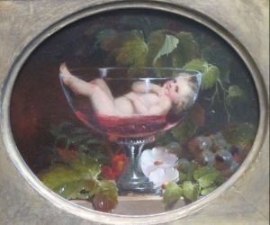 Cupid in a Wine Glass, oil painting by Abraham Woodside, 1840s, Pennsylvania Academy of the Fine Arts (Wikimedia - expired copyright - in public domain)