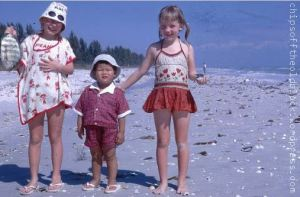 1960s fun on Sanibel. We've thought of recreating the photo but my little bro' is against the idea. I wonder why?!