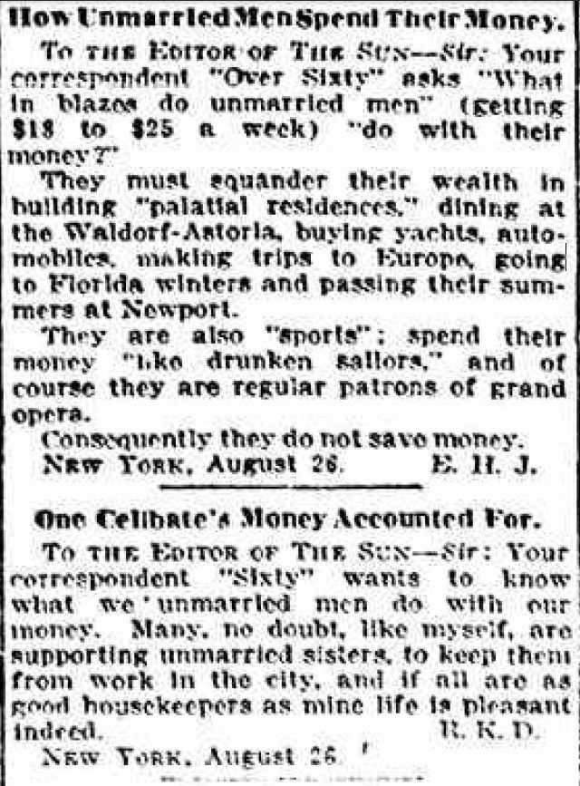 Letters to the Editor, New York Sun, 27 August 1913 (www.fultonhistory.com)