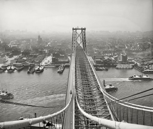 "New York circa 1903. ""East River from Brooklyn tower of Williamsburg Bridge."" 8x10 inch dry plate glass negative, Detroit Publishing Company. Link to full-size image: http://www.shorpy.com/node/8483?size=_original#caption"