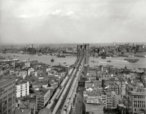 "New York circa 1903. ""East River and Brooklyn Bridge from Manhattan."" Among the many signs competing for our attention are billboards for ""Crani-Tonic Hair Food"" and Moxie. 8x10 glass negative, Detroit Publishing Co. For full image: http://www.shorpy.com/node/11497?size=_original#caption"