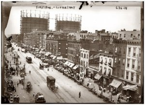 New York's First Avenue at East 29th Street during the annual Little Italy festa circa 1908. 5x7 glass negative, George Grantham Bain Collection. Full-size image: http://www.shorpy.com/node/1781?size=_original#caption