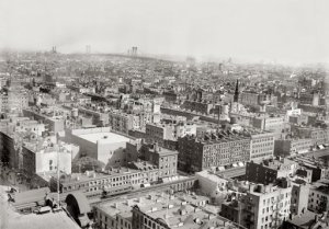 "Summer 1913. ""Bird's eye view of N.Y.C. from roof of Consolidated Gas Building."" 5x7 glass negative, George Grantham Bain Collection. For full image: http://www.shorpy.com/node/4521?size=_original#caption"