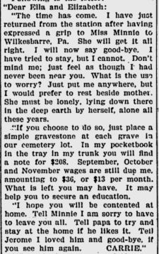 Suicide note, 26 Nov. 1904, Fredericksburg Daily Star, Google news archives