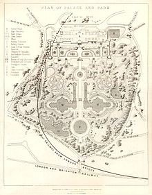 Plan of Crystal Park Palace in 1857 (Wikimedia Commons: Public domain in US; copyright expired 70+ years ago)