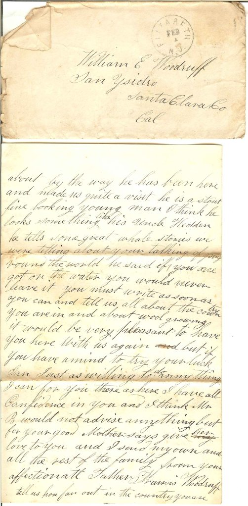 Envelope and page 4 of Francis' letter to son William