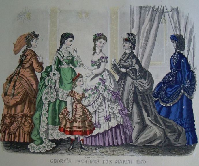 Godey's 1870 Fashion: March (reprinted in Italy, purchased from McCall's magazine in 1970)