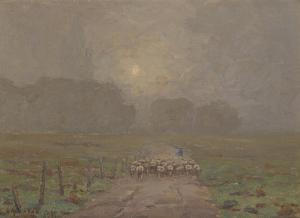Redmond Granville's Shepherd Herding Sheep in a Misty Landscape, 1911, Private collection in Irvine, CA (Wikimedia: In Public Domain in USA)
