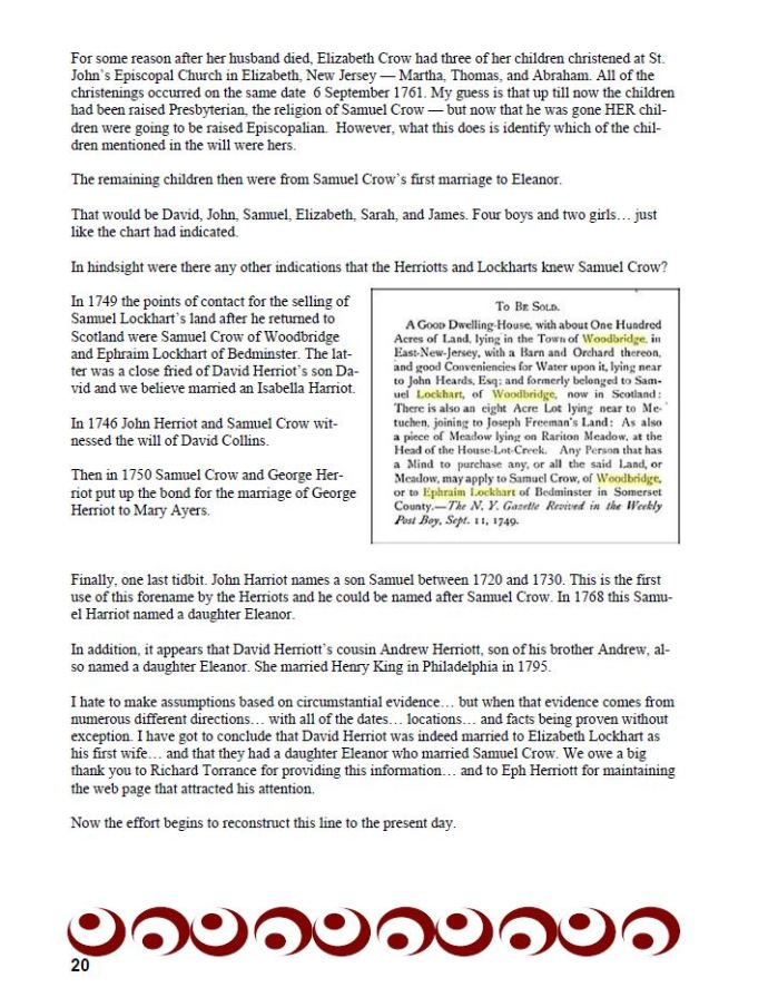 Herriott Herald Newsletter, published here with the permission of the Herriott Heritage Association