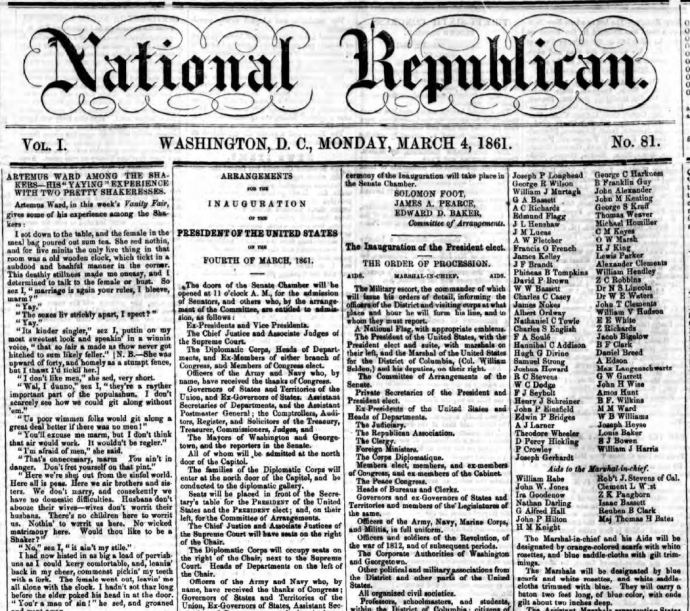 National Republican newspaper, 4 March 1861