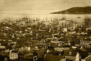 San Francisco Harbor, 1850-1851; with Alcatraz Island in the background. Daguerrotype. |Wikimedia: Source - Library of Congress CALL NUMBER: DAG no. 1330]