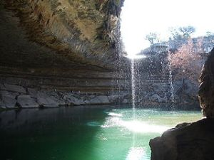Hamilton Pool near Dripping Springs; Photo taken by Reid Sullivan during drought conditions 1/2/2006 (Wikimedia - Image in public domain)