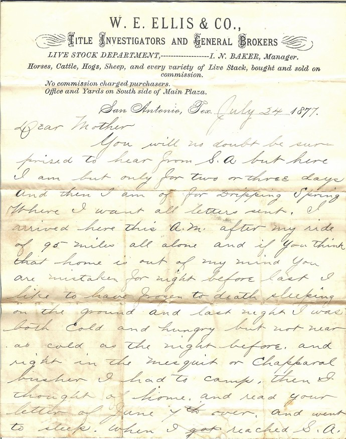 Job W. Angus letter from San Antonio, page one, from private family archives