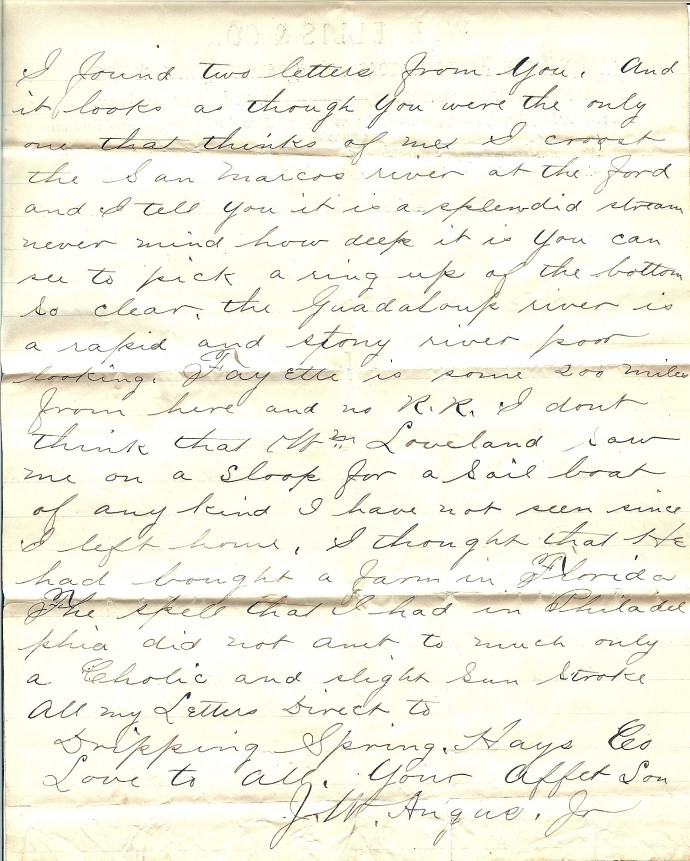 James W. Angus letter from Sanantonio, page two, from private family archives