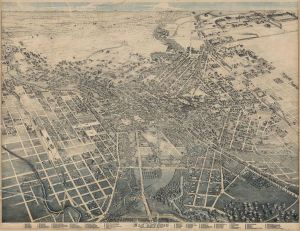 Lithograph - Map of San Antonio, Texas, 1886 (Wikimedia - Image in public domain)