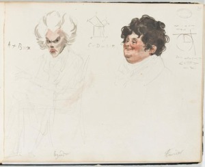 1820 watercolor portrait of French mathematicians Adrien-Marie Legendre and Joseph Fourier; Boilly, Julien-Leopold. (1820). Album de 73 Portraits-Charge Aquarelle's des Membres de I'Institut (Wikimedia Commons: Image in Public Domain)