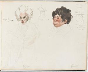 1820 watercolor portrait of French mathematicians Adrien-Marie Legendre and Joseph Fourier; Boilly, Julien-Leopold. (1820). Album de 73 Portraits-Charge Aquarelle's des Membres de I'Institut (Wikimedia Commons: Image in Public Domain)