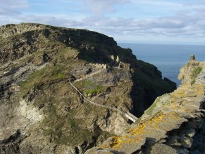 Remains of Tintagel Castle, legendary birthplace of King Arthur public domain Uploaded by: Archibald Tuttle from Wikimedia Commons (original source)