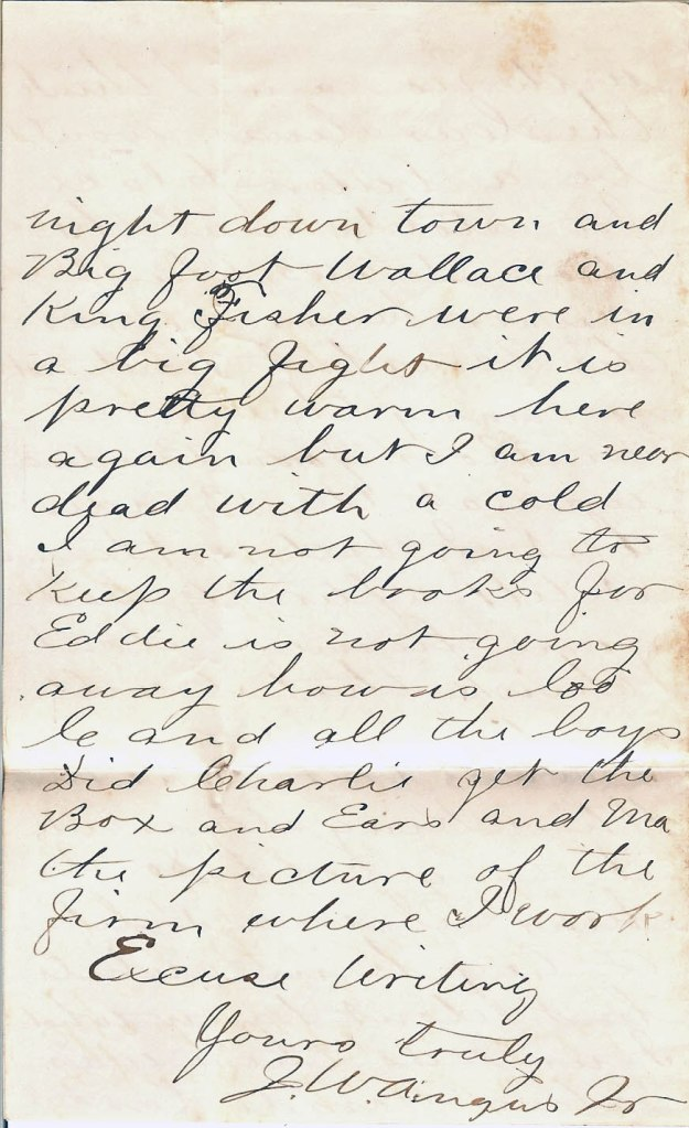 Job W. Angus Letter, 7 January 1877, from our family's personal collection (p. 4)