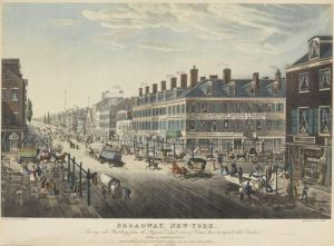 Broadway, New-York. Showing each Building from the Hygeian Depot corner of Canal Street, to beyond Niblo's Garden. Date: 1836 Drawn & Etched by T. Hornor. Aquatinted by J. Hill. Printed by W. Neale. Published by Joseph Stanley & Co. Entered according to Act of Congress by Jos. Stanley & Co. in the Clerks Office of the Southern District of New York. January 26th, 1836.