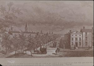 Street Scenes, Canal, Copy of Old Time Engraving. Date: 1910 An engraving by G. Gibson (?); subject is Canal Street, depicted when the canal still existed, descriptive caption accompanies engraving. From the Collections of the Museum of the City of New York.