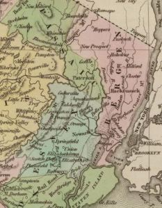 Bergen, Passaic, and Union Counties, 1838. Image cropped from  David Rumsey Historical Map Collection Author: Bradford, Thomas G. Date: 1838; Short Title: New Jersey. Publisher: Weeks, Jordan & Co. Boston Publisher: Wiley and Putnam. New York (www.davidrumsey.com)