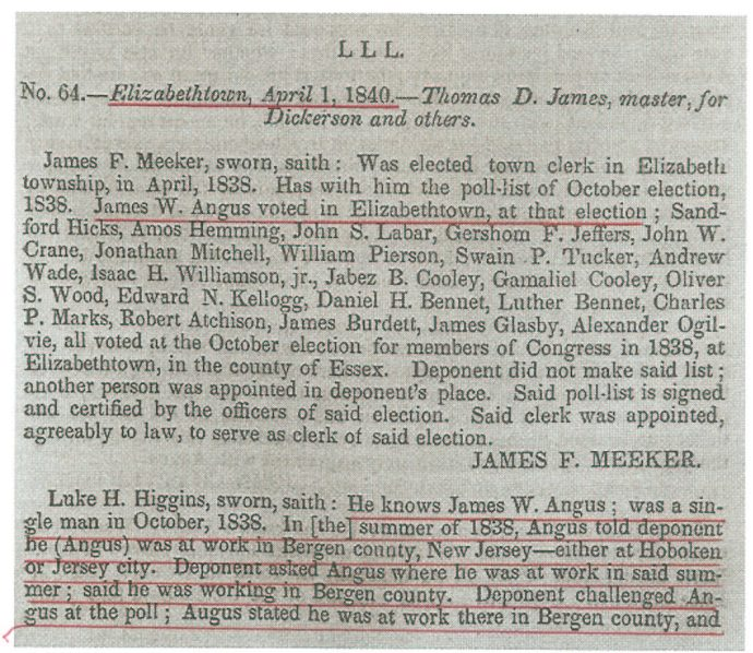Testimony in the New Jersey Contested Election, May 26, 1840 (Publishes by US House of Representatives: 12 May 1840), p. 335.
