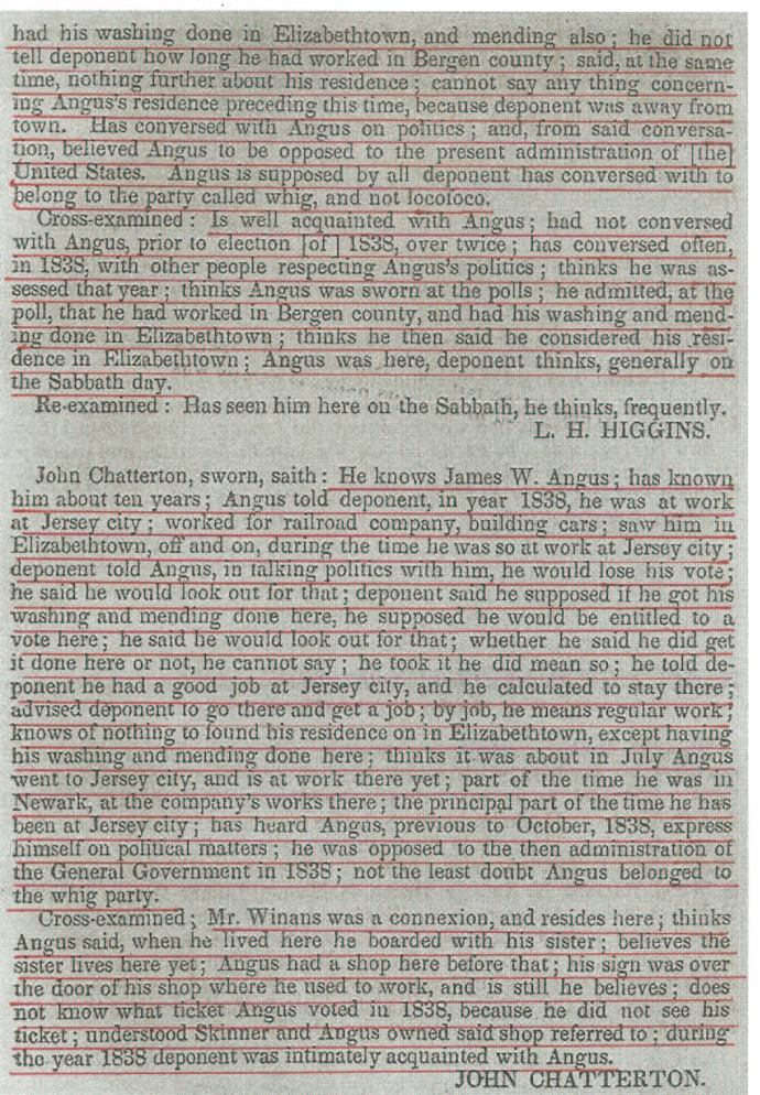 Testimony in the New Jersey Contested Election, May 26, 1840 (Publishes by US House of Representatives: 12 May 1840), p. 336.