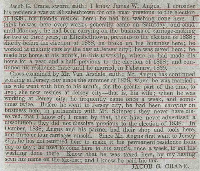 Testimony in the New Jersey Contested Election, May 26, 1840 (Publishes by US House of Representatives: 12 May 1840), p. 361.