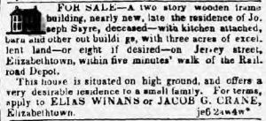 June ?, 1843, ad in the  New York American newspaper