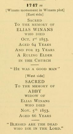 Elias and Abby Winans' tombstone inscriptions, 1st Presbyterian Churchyard, Elizabeth, NJ