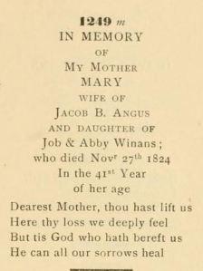 **Tombstone inscription, 1st Presbyterian Churchyard, Elizabeth, NJ